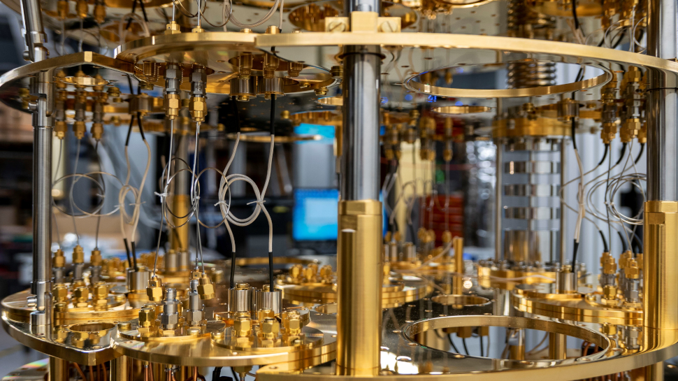 Inside the dilution refrigerator used to cool the silicon chip down to a fraction of a degree above absolute zero