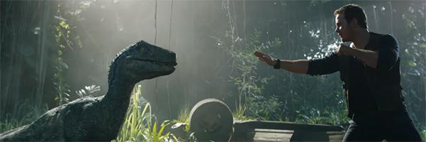 Chris Pratt's Owen Grady approaching Blue the Raptor in Jurassic World: Fallen Kingdom