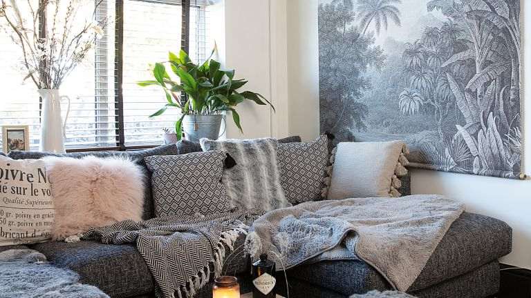 Grey Living Room Ideas With Palm Print Mural