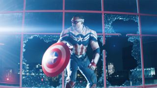 Sam Wilson (Anthony Mackie) as Captain America in The Falcon and the Winter Soldier.