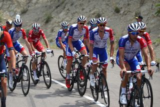 The Groupama-FDJ team ride on the front of the peloton
