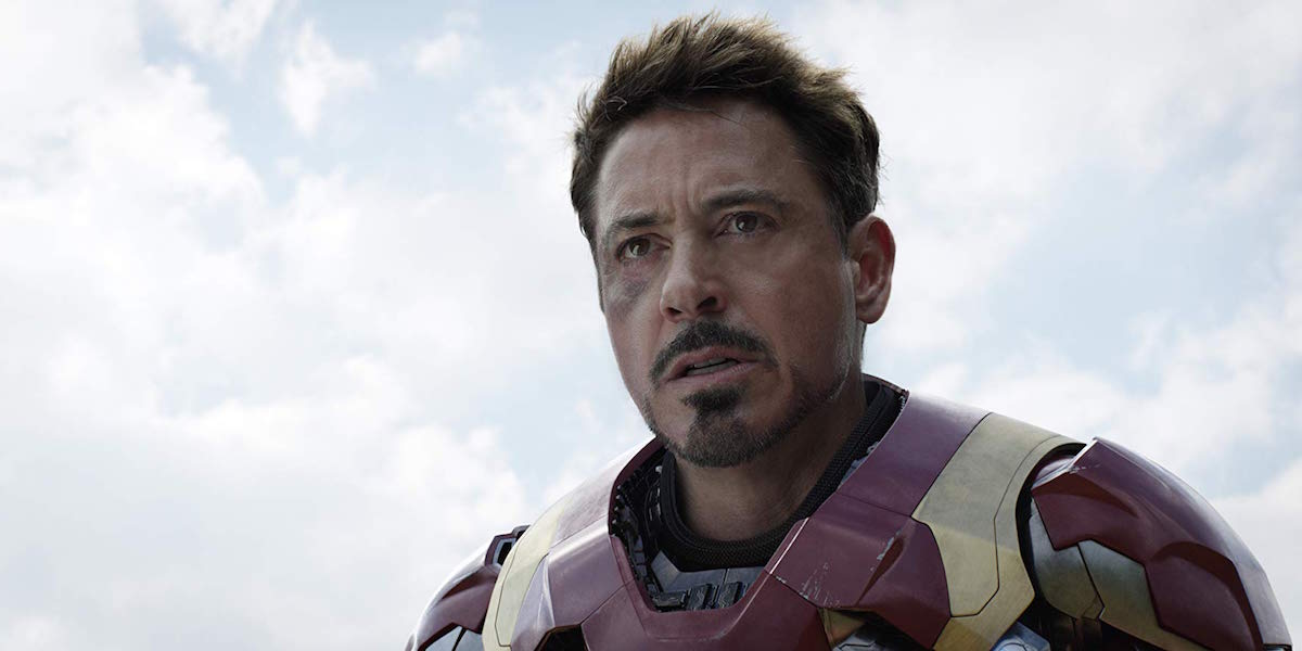 Robert Downey Jr as Iron Man in Captain America: Civil War