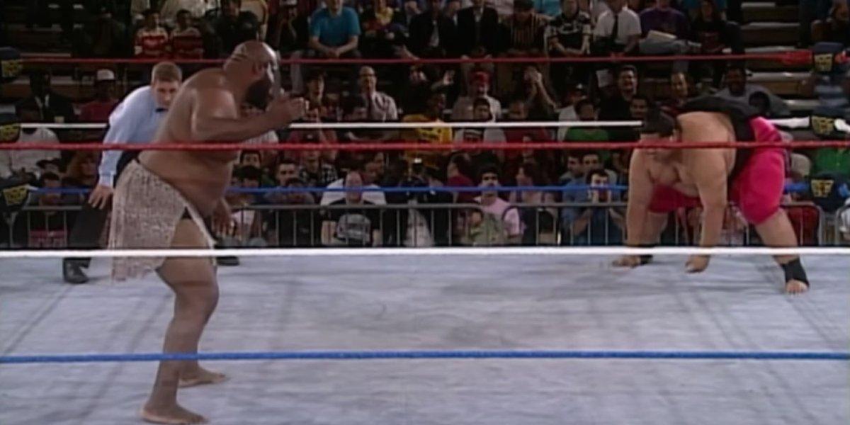 Kamala and Yokozuna on Monday Night Raw
