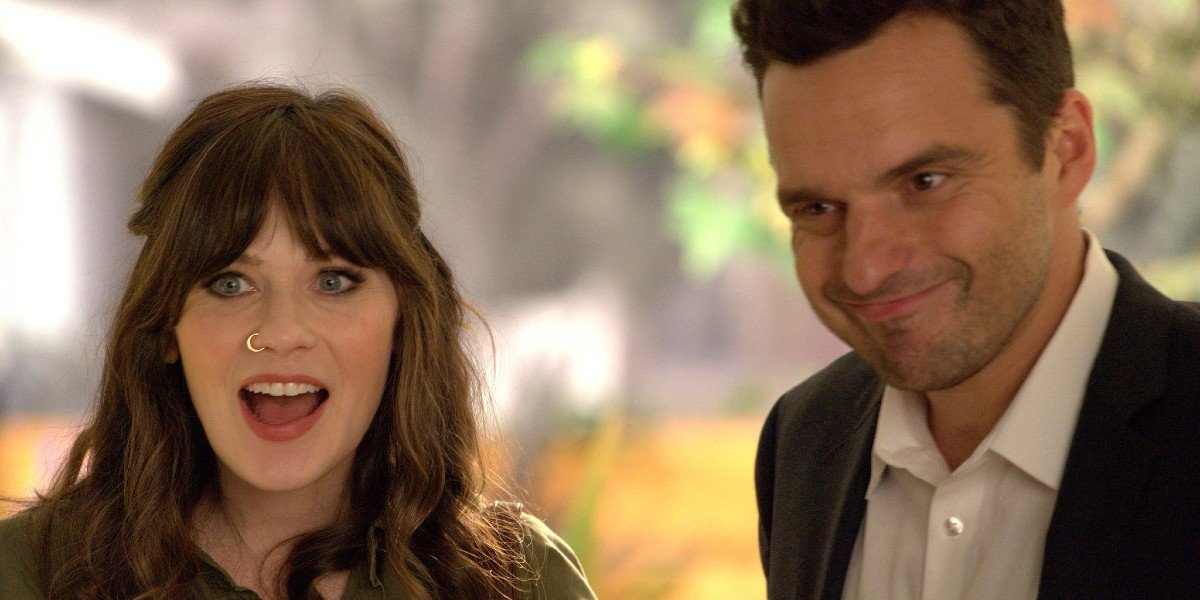 Jake Johnson and Zooey Deschanel in New Girl