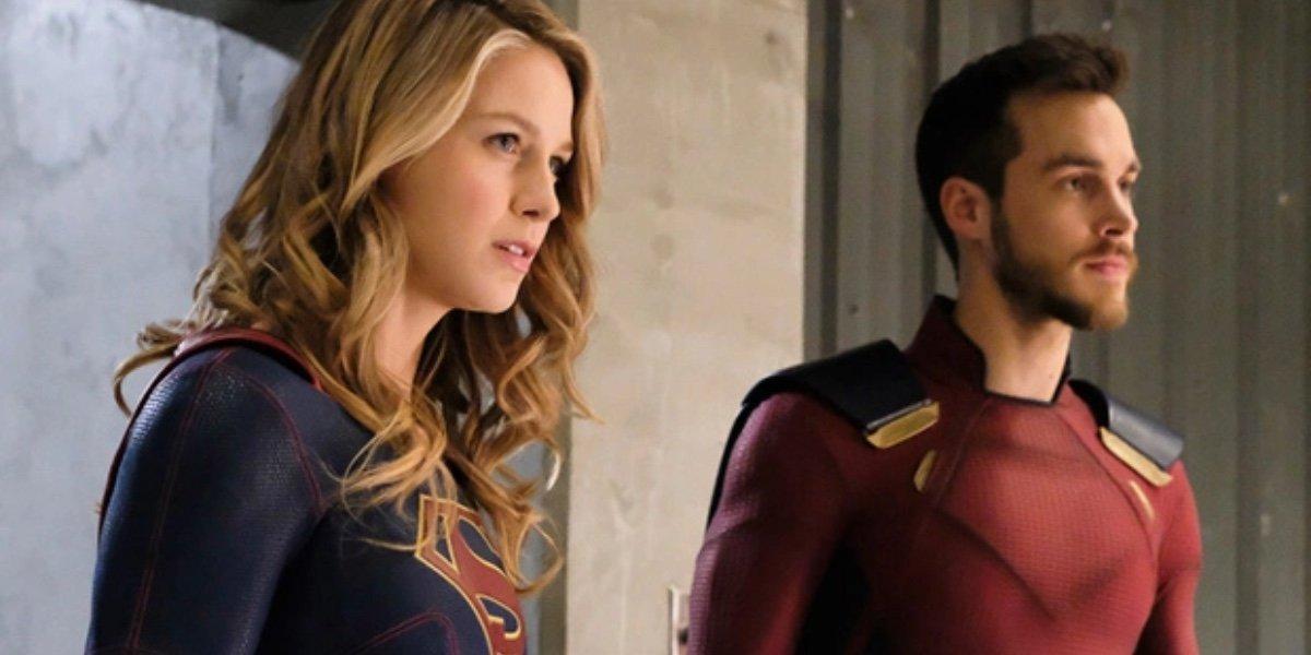 Melissa Benoist as Kara Danvers/Supergirl and Christopher Wood as Mon-El in Supergirl.