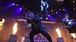 M. Shadows of Avenged Sevenfold performs at the start of the tour for the 2010 Rockstar Energy Drink Uproar Festival at Target Center on August 17, 2010 in Minneapolis,