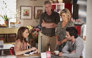 Roo, John and Marilyn quiz Zac about his relationship with Leah. Roo Stewart, John Palmer, Marilyn Chambers and Zac Macguire in Home and Away.