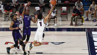 Chris Parker #1 of the Liberty Flames drives to the basket in the second half during a college basketball game against the North Alabama Lions at Vines Center on Feb. 22, 2021 in Lynchburg, Virginia.