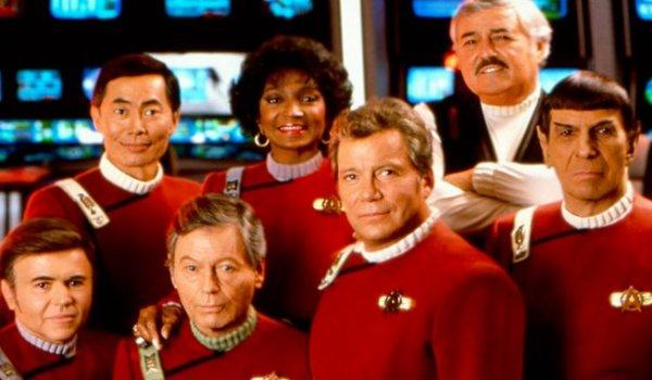 Star Trek VI: The Undiscovered Country crew photo on the Enterprise bridge