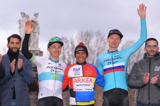 AIXENPROVENCE FRANCE FEBRUARY 16 Podium Alexey Lutsenko of Kazakhstan and Team Astana Pro Team Nairo Quintana of Colombia and Team Arka Samsic Multicolour Leader Jersey Aleksandr Vlasov of Russia and Team Astana Pro Team Celebration during the 5th Tour de La Provence 2020 Stage 4 a 1705km stage from Avignon to AixEnProvence TDLP letourdelaprovence TDLP2020 on February 16 2020 in AixEnProvence France Photo by Luc ClaessenGetty Images
