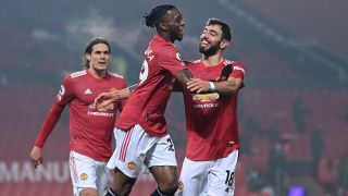 Aaron Wan-Bissaka of Manchester United celebrates a goal against Southampton Feb 2, 2021.