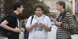 Christopher Mintz-Plasse as Fogell, Jonah Hill as Seth and Michael Cera as Evan