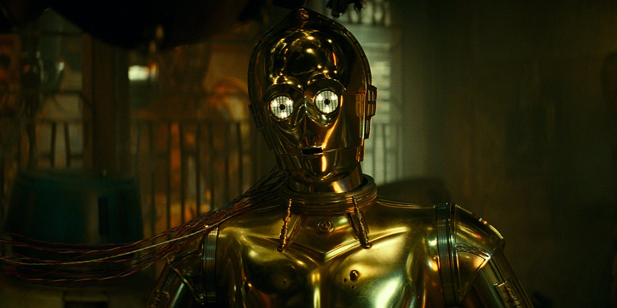 C-3PO taking one last look at his friends