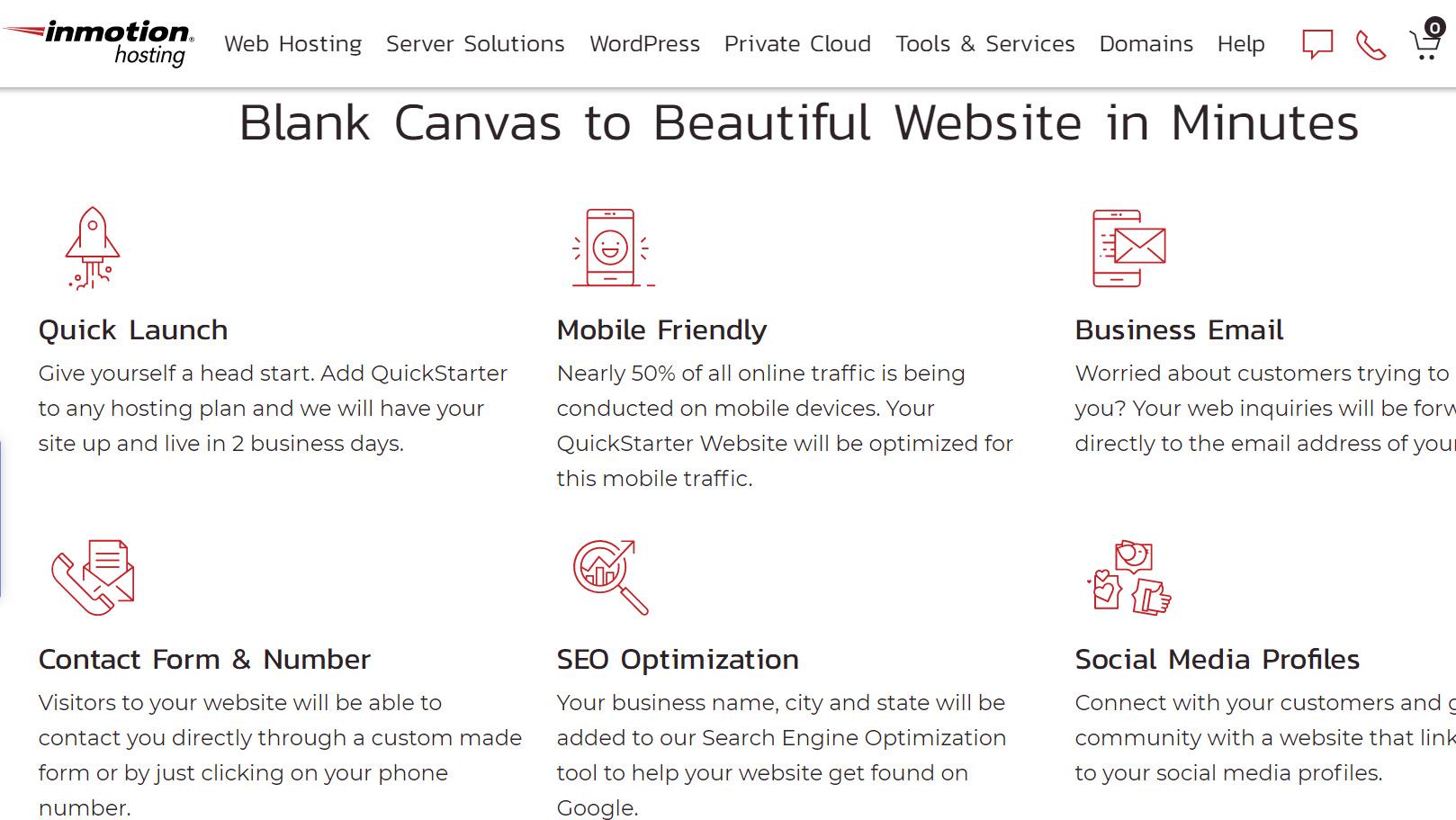 InMotion Hosting website services