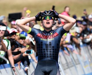 Toms Skujins (Hincapie Racing Team) coming to terms with his impressive victory