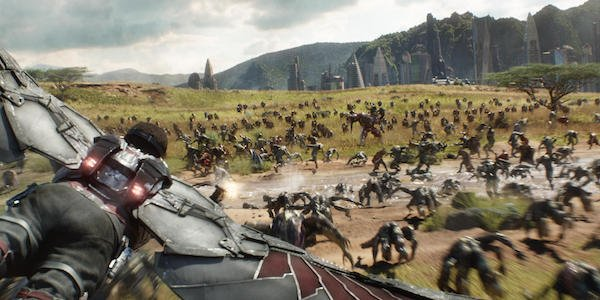 Falcon flying during The Battle of Wakanda
