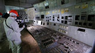 On Sept. 15, a group of journalists visited the control room of the Chernobyl nuclear power plant's reactor 4.