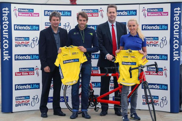 Andy Briggs, Friends Life Group Chief Executive (2nd right) and Ian Drake, British Cycling Chief Executive (left), with professional cyclists Alex Dowsett and Jessie Walker, announce Friends Life's sponsorship of the Tour of Britain cycle race, at Friends Life Group headquarters in London