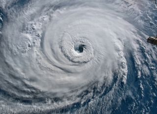 A satellite image of Hurricane Florence off the U.S. coast in 2018.