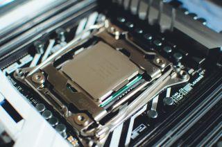 A CPU in a motherboard