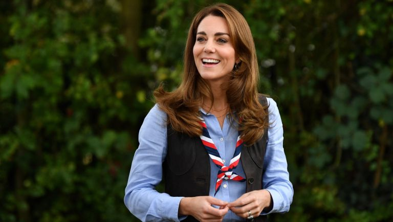 Kate Middleton arrives to visit a Scout Group in Northolt, northwest London where she joined Cub and Beaver Scouts in outdoor activities on September 29, 2020 in London, England.