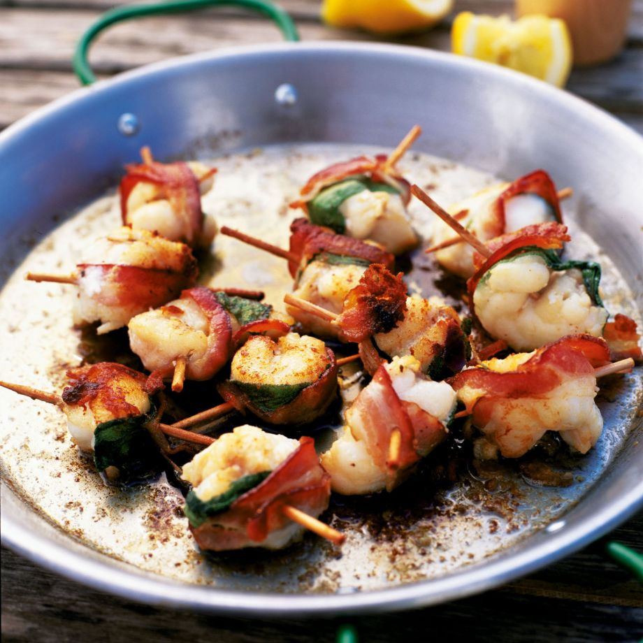 Monkfish Kebabs with Bacon and Sage Recipe