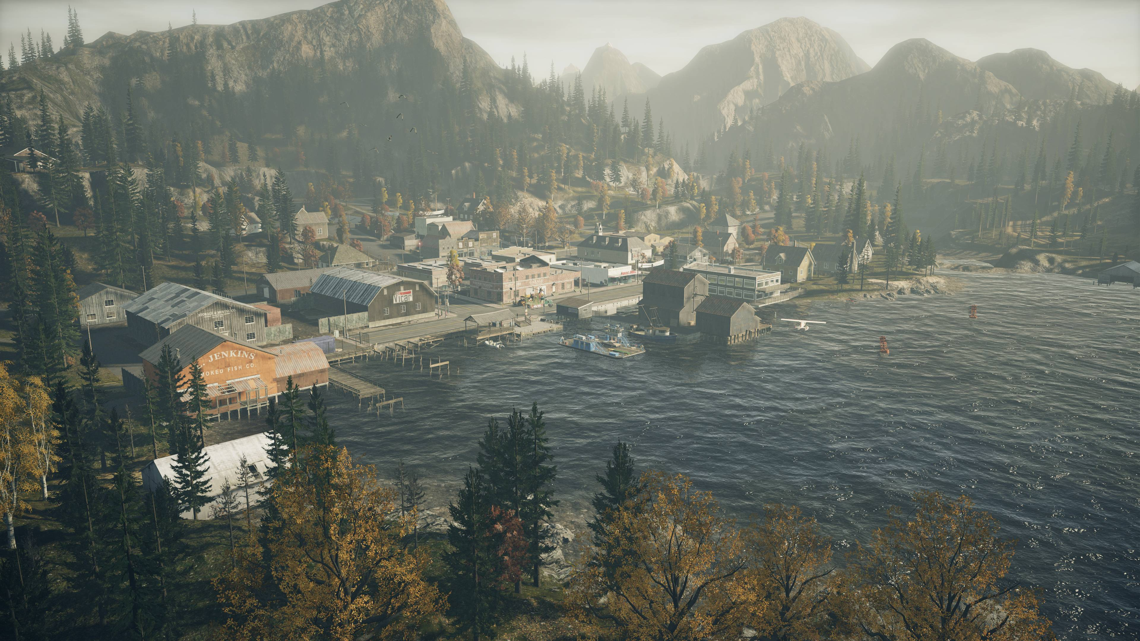 Scenic view of Bright Falls in Alan Wake Remastered