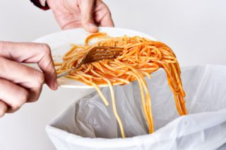 spaghetti, trash, food, food waste
