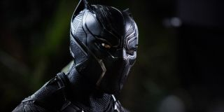 Black Panther surveying the area moments after arriving to recover Nakia and a group of young girls in Black Panther