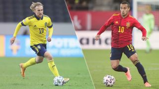 Spain vs Sweden live stream at Euro 2020 — Emil Forsberg and Thiago Alcantara
