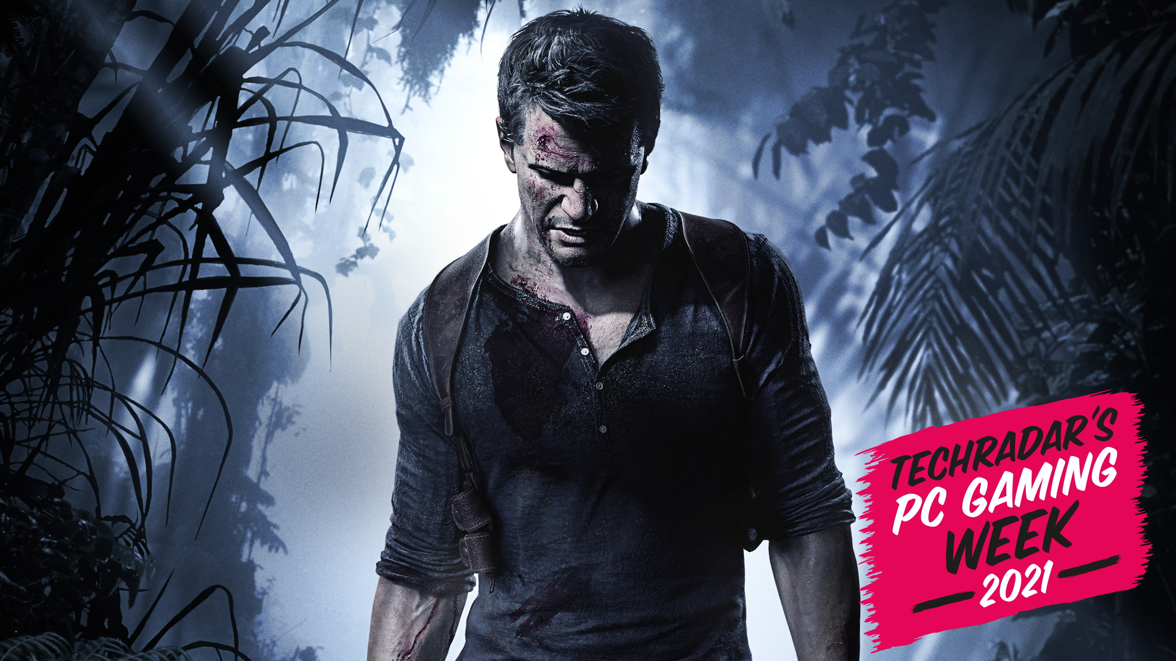 An image of Uncharted protagonist Nathan Drake in the forest