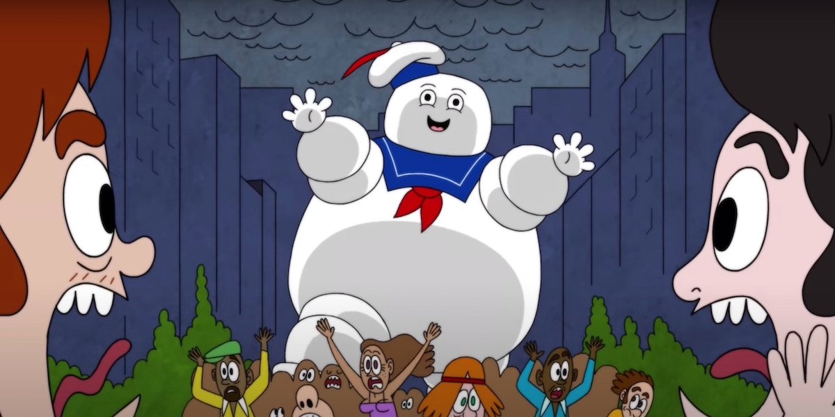 Stay Puft Marshmallow Man rampaging in Have A Good Trip