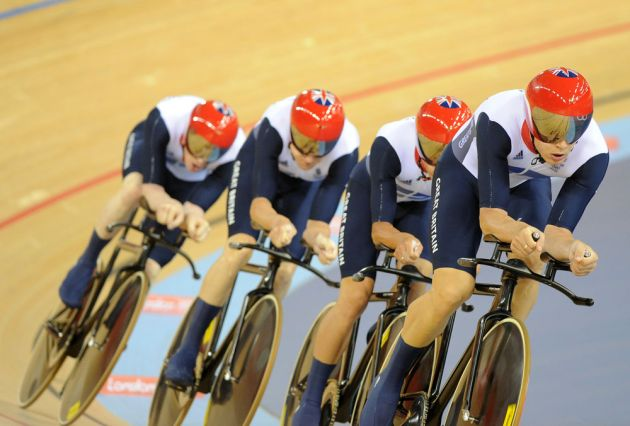 Steven Burke on front, Team GB pursuiters, London 2012 Olympic Games, track day one