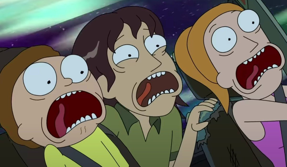 Morty and Summer with someone who looks like a Young Jerry?