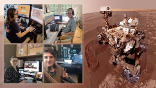 Members of NASA's Curiosity Mars rover mission team took photos of themselves on March 20, 2020, the first day they all worked remotely.
