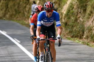 HONDARRIBIA SPAIN APRIL 08 Brandon Mcnulty of United States and UAE Team Emirates Blue best young jersey during the 60th ItzuliaVuelta Ciclista Pais Vasco 2021 Stage 4 a 1892km stage from VitoriaGasteiz to Hondarribia Breakaway aitzulia ehitzulia on April 08 2021 in Hondarribia Spain Photo by David RamosGetty Images
