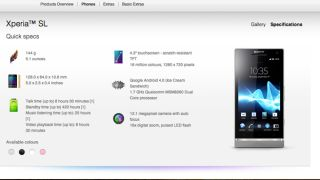 Sony Xperia SL now official, listed as 'coming soon