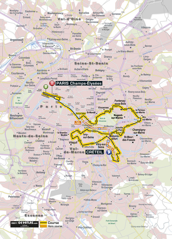 Stage 21 map, Tour de France 2011
