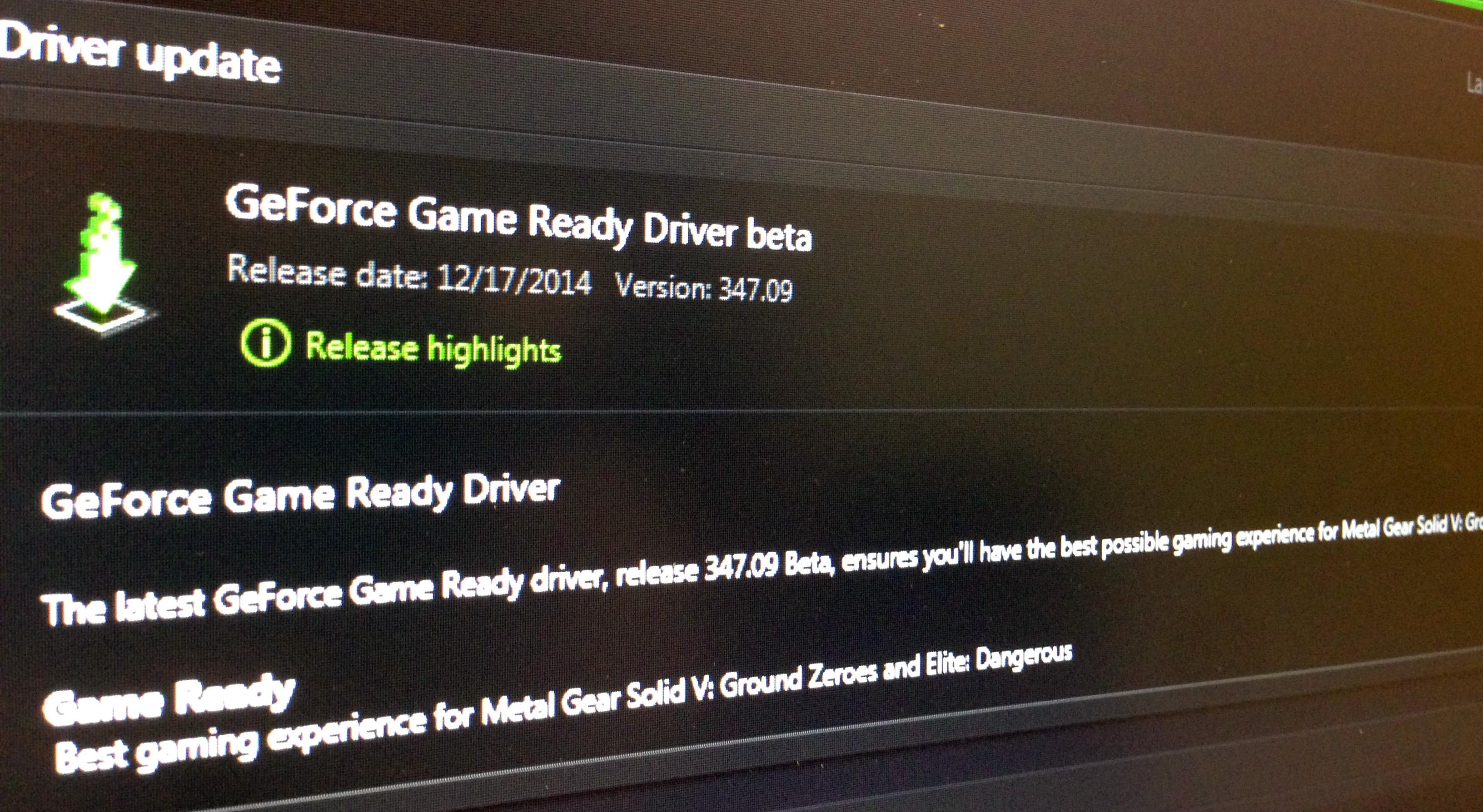 nvidia driver experience