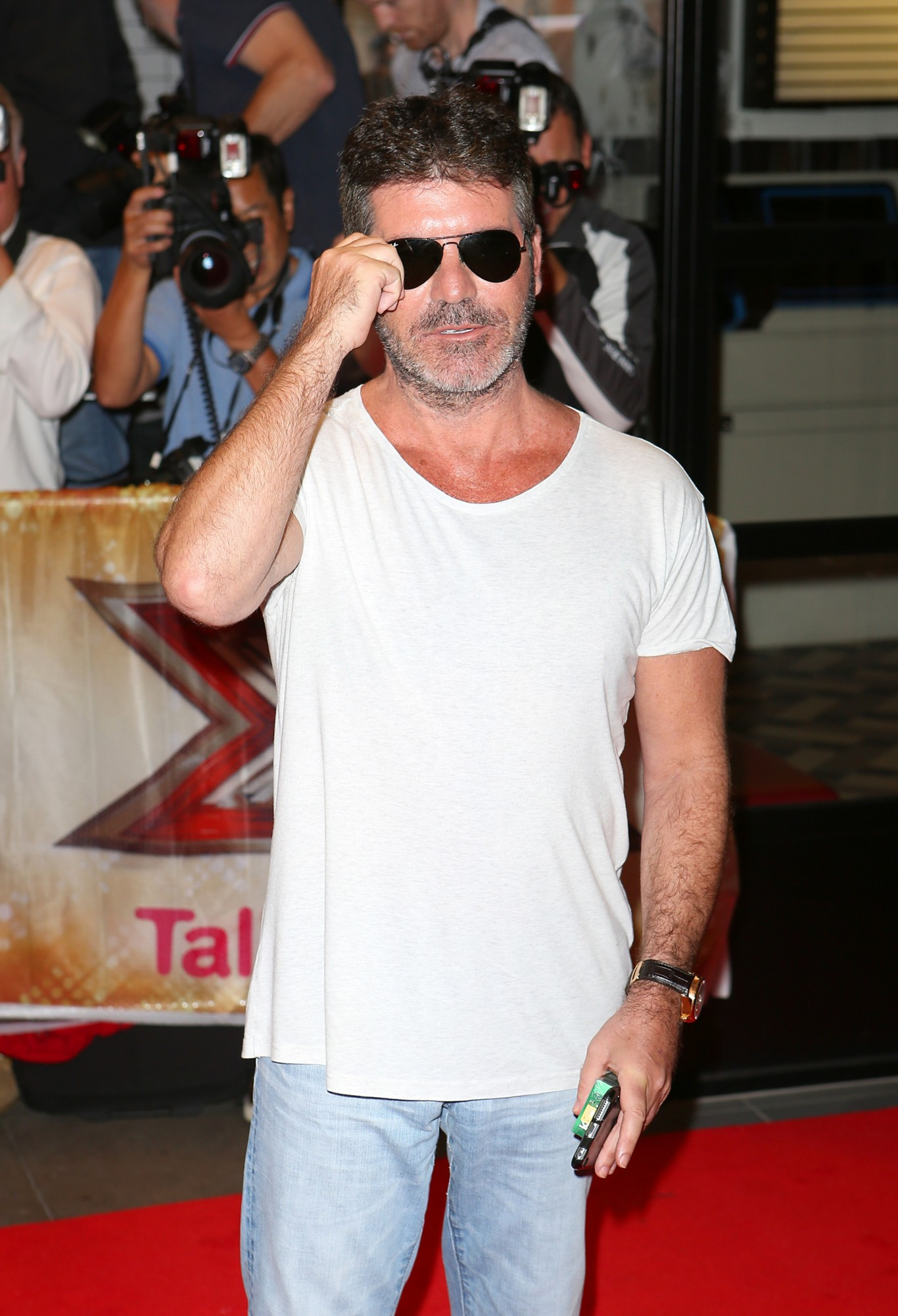 Simon Cowell in sunglasses at X Factor launch