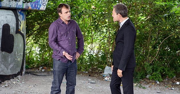 Nick Tilsley confronts Steve McDonald in Coronation Street.