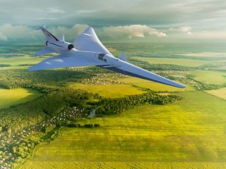 An artist's illustration of NASA's X-59 QueSST supersonic airplane, which the agency will use to test technologies for quiet supersonic aircraft.