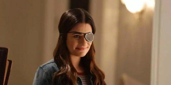 lea michele wearing an eye patch in Season 1's finale