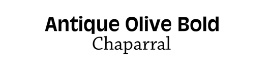Font pairings: Antique Olive and Chaparral