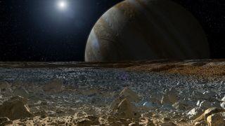 Artist's Concept of Surface of Jupiter Moon Europa