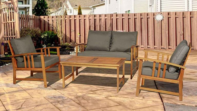 Garden sofa: Outsunny Outdoor Indoor 4pcs Acacia Wood Furniture Set