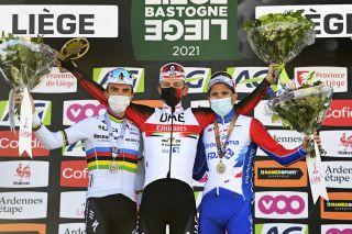 Liege - Bastogne - Liege 2021 - 107th Edition - Liege - Liege 259,1 km - 25/04/2021 - Tadej Pogacar (SLO - UAE Team Emirates) - Julian Alaphilippe (FRA - Deceuninck - Quick-Step) - David Gaudu (FRA - Groupama - FDJ) - photo Vincent Kalut/PN/BettiniPhoto©2021