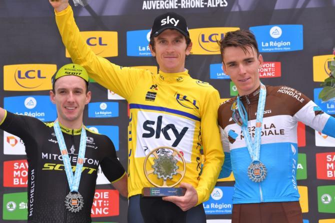 Adam Yates, Geraint Thomas and Romain Bardet on the podium in the Criterium du Dauphine
