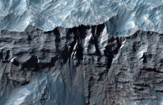 A close-up photo of part of Mars' Valles Marineris, the single largest canyon in the solar system.