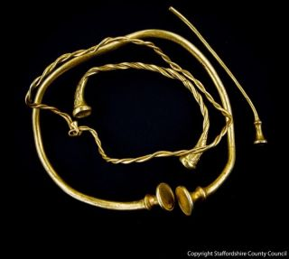 Found in a field near the town of Leek in the United Kingdom, the gold jewelry dates back sometime between 400 B.C. and 250 B.C. and could be the oldest example of gold work discovered in Britain.